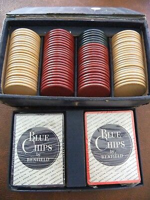 1940's Blue Chips: Renfield Advertising Bakelite Poker Chip Set w/ Cards