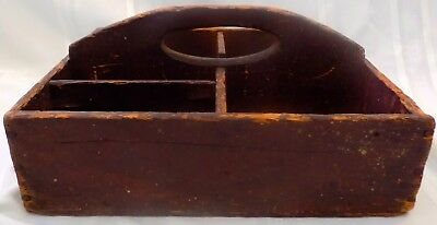 ANTIQUE Country PRIMITIVE TOOLBOX Sectioned Handle ORIGINAL Brown PAINT