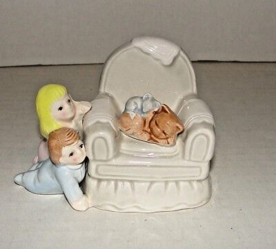 Fitz & Floyd Figurine Boy & Girl Watching Sleeping Kitty Cat & Mouse in Chair