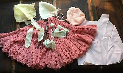 Vtg Lot Baby Doll Clothes Hand-Knit Crocheted Poncho Sweater 3 Bonnets 1 Booties