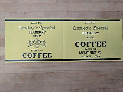 Original Vintage 1910s Lemley's Special Peaberry Brand Coffee Tin Can Label