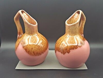 2 Winart Pottery Ivy Ball Vases / Planters Pink w/ Brown Drip Glaze Mid-Century