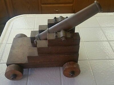 Beautiful Vintage Antique Brass Signal Cannon on Wooden Base/Wheels USA MADE