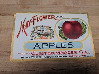 Original Vintage 1910s May-Flower Brand Apples Crate Tin Can Label Calvert Litho