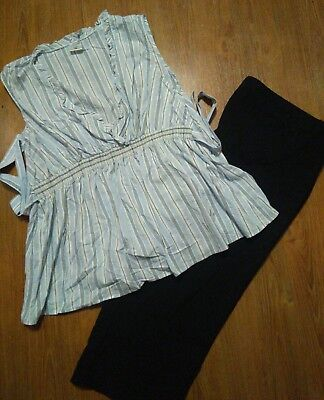 Motherhood Maternity lot SLEEVELESS Tie Back Shirt Black Stretch Capri Pants 2X