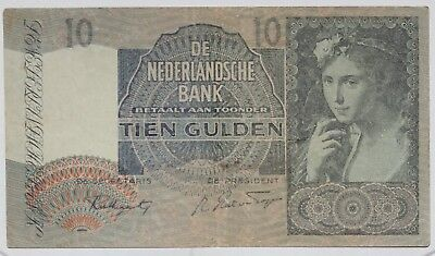 1941 Netherlands 10 Gulden Currency Note