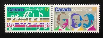 Canada #857-858ai MNH, O Canada Centenary Dot on Moustache Pair of Stamps 1980