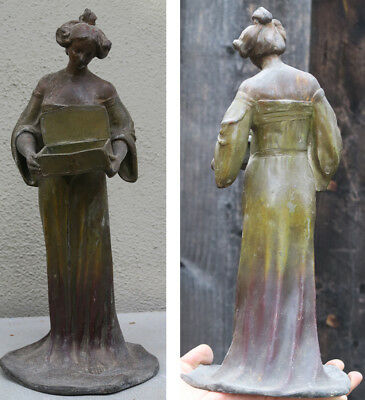 Antique Spelter bronzed French Art Noveau girl Figurine Vintage Jewelry BOX sign