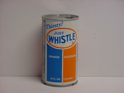 Vintage Whistle Orange Soda Straight Steel Pull Tab Top Opened Pop Can