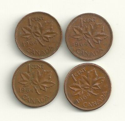 1964 Canada One Cent Coin 4 Coin Lot