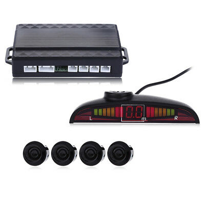 Car Vehicle Backup Radar 4 Parking Sensor System Buzzing Voice Alert LED Display