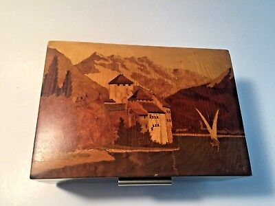 Antique Chr. Ritschard Swiss Music Box Wooden Inlaid Castle Works