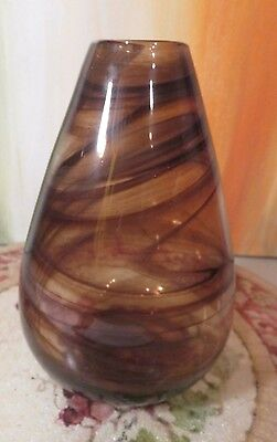 Hand Crafted Art Glass Vase W/brown Wisps