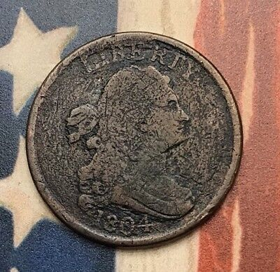 1804 Draped Bust Half Cent Vintage US Copper Coin #EB1 Very Sharp Better Date
