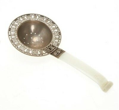 Antique Chinese silver and white jade tea strainer