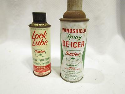 Vtg SINCLAIR OIL Sinclair Windshield Spray De-Icer & Lock Lube Cans advertising