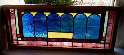 Antique Vtg Church Stained Glass Window Architectural Salvage Six Arches W29