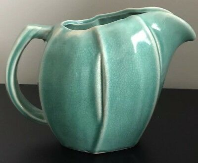 "Antique Vintage Signed McCoy Pottery 6-1/4"" Tall Green Pitcher Vase"