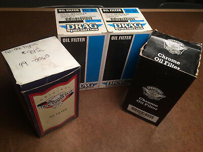 (4) NOS chrome oil filters 91-98 HARLEY Dyna