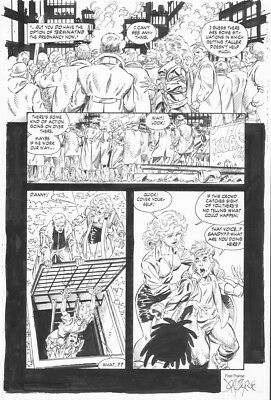 JOHN BYRNE'S NEXT MEN # 22 Pg. 13 by JOHN BYRNE! SIGNED!! INCREDIBLE DETAIL!!!