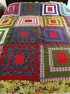 """Vintage Handmade Bright Colors White House Steps Quilt Top Hand Sewn 70"""" X 81"""""""