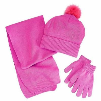 NEW Berkshire Fashions Girls Solid 3PC Winter Set Hat Gloves Scarf One Size Pink