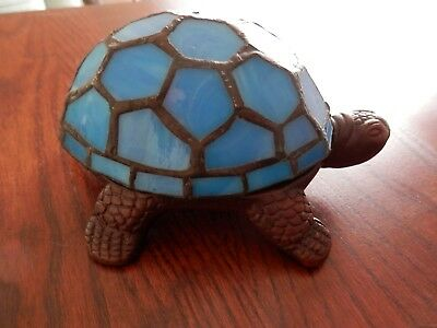 Tiffany-style Turtle Accent Lamp Stained Glass Night Light, Blue, Battery, Timer