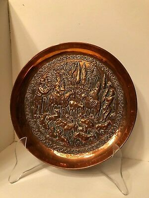 Vintage Middle Eastern 3 Hammered Copper Wall Plates