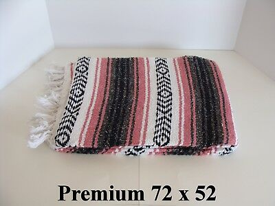 72 X 52 Pink Hand Made Authentic Mexican Falsa Blanket Throw Rug Premium
