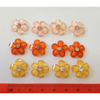 Tequila Sunrise Craft Flower Embellishment Lot Craft Supplies 12 Flowers