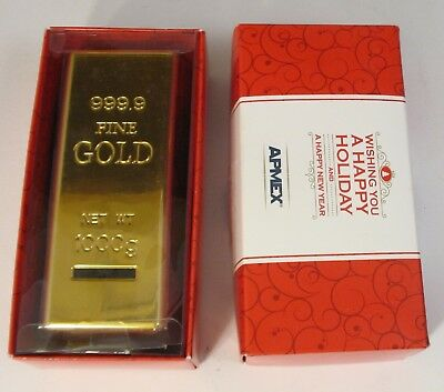 "APMEX FAKE PLASTIC ""Gold Bar"" Coin Bank -Advertising Gold Bug Stocking Stuffer"