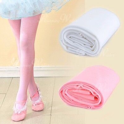 Girls Kids Solid Pink/White Footed Leggings Stocking Ballet Dance Tight-Pants