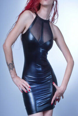 Sexy PVC Leather Evening Party Stripper Cocktail Clubwear Mini Dress Bodycon