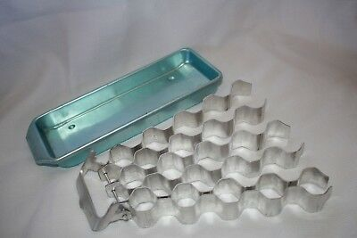 vintage blue anodised ice cube tray hexagonal removable easy release alum