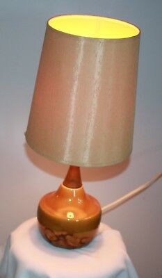 retro fat lava era table lamp brown ceramic timber neck Thai silk shade works