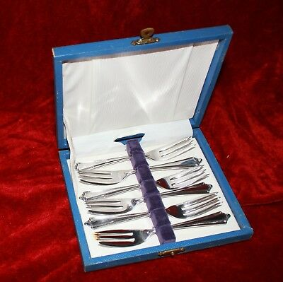 vintage RODD silver cake dessert forks x6 EPNS A1 BEAUMENT as new in box cutlery