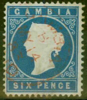 Gambia 1880 6d Dp Blue SG17A Fine Used