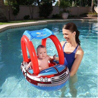 Baby Toddler Infant Sunshade Swimming Pool Swimways Seat Float Boat Ring Raft