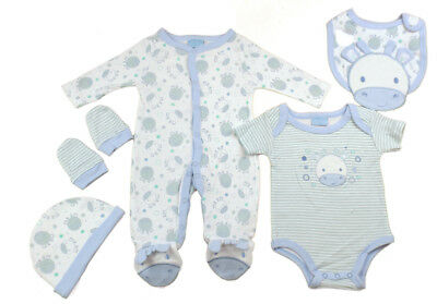 ffd8882f94d9 Just Too Cute Baby 5 Piece Layette Clothing Gift Set Sky Blue Giraffe Design
