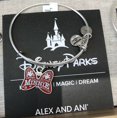 Alex and Ani Disney Parks Minnie Mouse 2018 Bow Bracelet Silver Brand New
