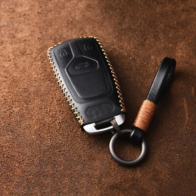 Leather Remote Smart Key Fob Case Cover For 2017 2018 Audi A4L Q7 TTS A5