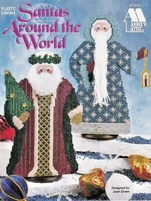 Santas Around The World Plastic Canvas Tree Sack Gift Lantern Mitered Hat