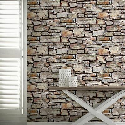 Cornish Stone Wall Wallpaper Rolls Brown - Arthouse 668900 Brick