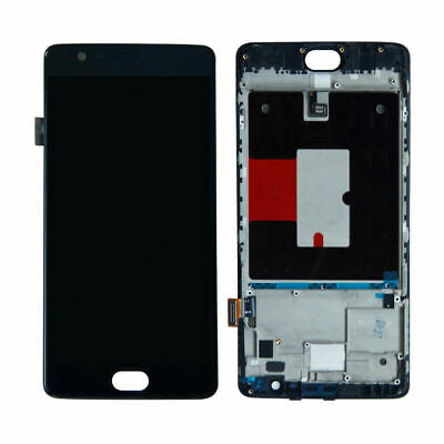 For OnePlus Three 3 LCD Display Screen Touch Digitizer Frame Assembly Black New