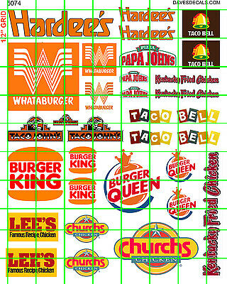 5074 DAVE'S DECALS OLD CHAIN FAST FOOD SIGNS 1970's 1980's BURGER TACO CHICKEN
