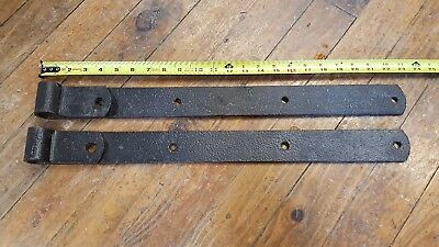"""Antique 23"""" Cast Iron Barn Strap Hinges - Heavy Hand Forged - BEAUTIFUL"""