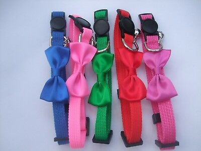 Bow Cat Collar break away buckle safety snap release tie bell quick free postage