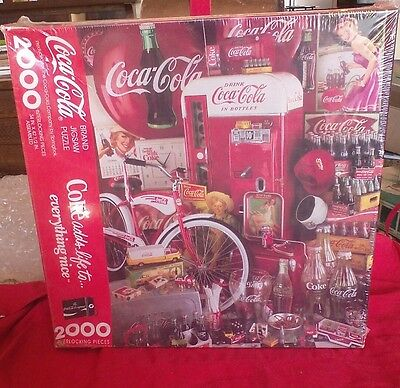 Coca cola jigsaw puzzle 2000 piece 34x42.5 finished 1991 sealed