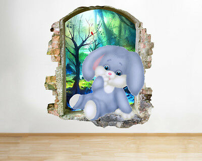 J331 Bunny Rabbits Forest Kids Smashed Wall Decal 3D Art Stickers Vinyl Room
