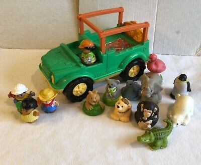 Fisher Price Little People  Zoo Talkers Lot 10 Animals Sound Safari Truck  Toy